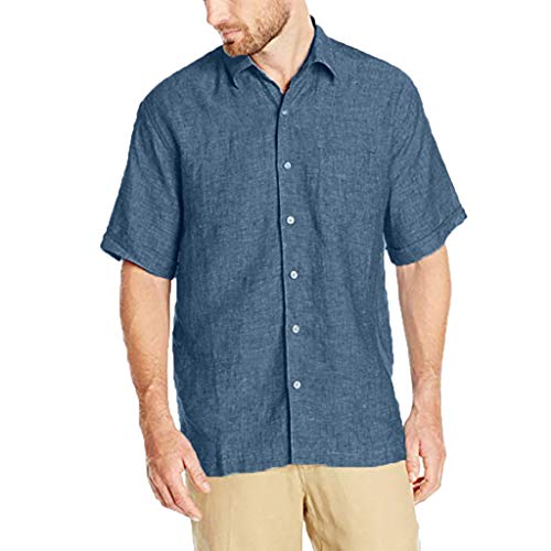 Mens Short Sleeve Shirts Cotton Linen Button Turn-Down Plain Summer Loose Tops T-Shirts (XL, Blue)