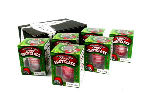 Peppermint Candy Cane Edible New Years Shot Glasses, 1.76 oz Packages in a BlackTie Box (Pack of 6)
