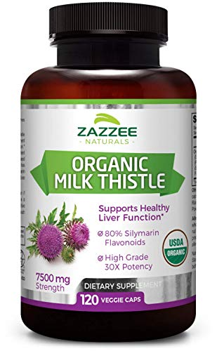 Zazzee USDA Organic Milk Thistle 120 Veggie Caps, 7500 mg Strength, 80% Silymarin Flavonoids, Potent 30:1 Extract, USDA Certified Organic, Vegan, Non-GMO and All-Natural (Best Quality Milk Thistle)