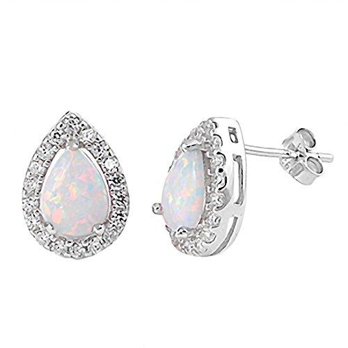Lorin: Cabochon-cut Pear shape Synthetic White Opal & IOF CZ Bezel Stud Earrings 925 Silver, 0819