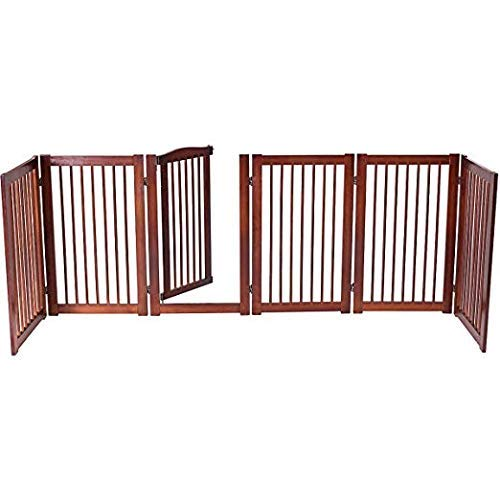 PETSJOY 36''H Configurable Folding Free Standing Panel, Wood Pet Dog Safety Fence, Wide Barrier Gate with Walk-Through Door in 2 Directions, Add/Decrease Panels Directly 133'' W by PETSJOY (Image #3)