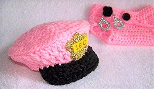 Baby Police Costume Hat and Diaper Cover with Handcuffs Badge Gift Set Pink or Blue 3 Piece -