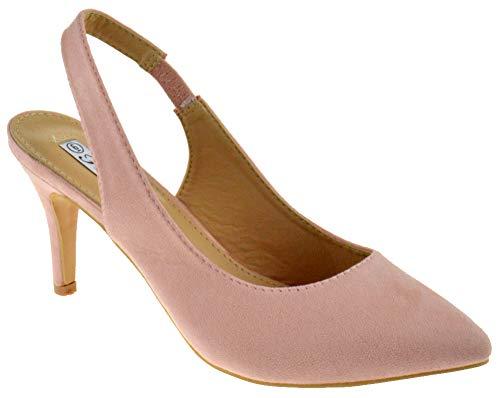 Coshare Sanzi 1 Women's Fashion Front Low Kitten Heel Pumps Pink Suede 8.5