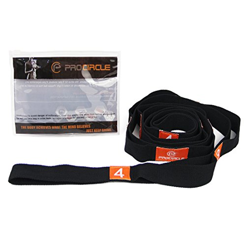 "PROCIRCLE Yoga Stretch Strap - 1.6"" width - Yoga Strap with Multiple Grip Loops - Ideal for Hot Yoga, Physical Therapy, Greater Flexibility & Fitness Workout"