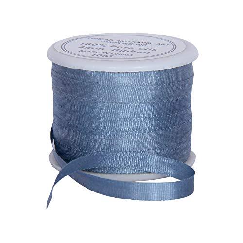 Threadart 100% Pure Silk Ribbon - 4mm Slate Blue - No. 012-3 Sizes - 50 Colors