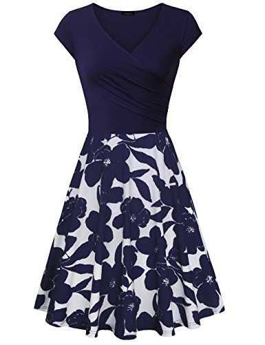 Laksmi Dress for Women Elegant, Floral Patchwork Casual Dress A Line Cap Sleeve Sexy V Neck,Multcolor Blue Medium by Laksmi