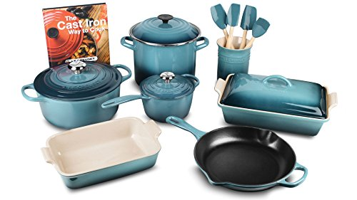 6 Piece Enameled Cookware Set (Le Creuset 16-piece Cookware Set (Marine))