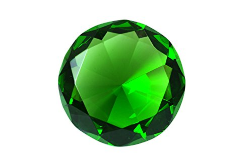 100 mm Emerald Green Diamond Shaped Crystal Jewel Paperweight by Tripact - 04