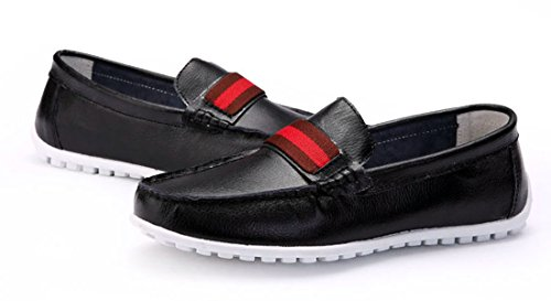 TDA Mens Popular British Style Casual Round Toe Leather Driving Walking Boat Shoes Black DHe0nUD
