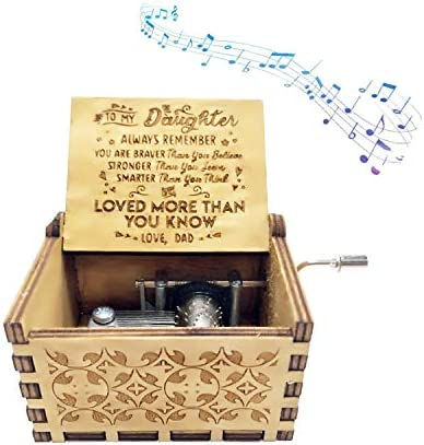 Music Box Dad To Son//Daughter Theme Wooden Classic Music Box Crafts w Hand Crank