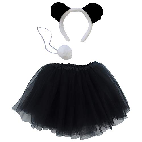 So Sydney Kids Teen Adult Plus 2-3 Pc Tutu Skirt, Ears, Tail Headband Costume Halloween Outfit (XL (Plus Size), Panda Black & White) -