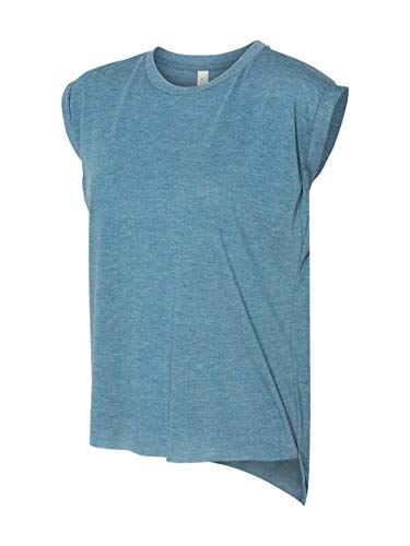 Bella Canvas Women's Flowy Muscle Tee With Rolled Cuff, Heather Deep Teal, M ()