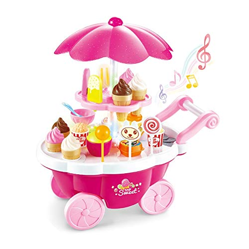 ARHA IINTERNATIONAL Big Size Portable Suitcase Shape Musical Kitchen Set Toy for Kids with Light and Accessories,Plastic (Ice-Cream Trolly)Multi color,Pack of 1 set