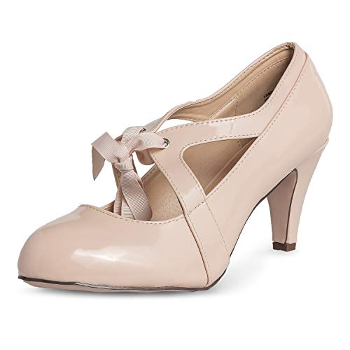 - Chase & Chloe Kimmy-62 Women's Vintage Bow Mary Jane High Heel Pump (7 M US, Nude Patent)