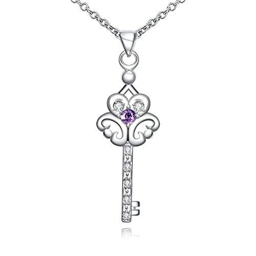 Womens Crystal Eternal Pendant Necklace Fashion Jewelry for Women-Gail D. Billings (Purple)