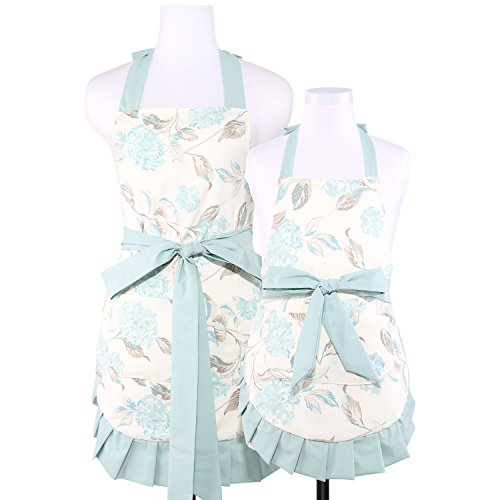 NEOVIVA Cooking Aprons with Pockets for Mama and Me, Double-Layered Bib Apron for Cooking, Baking, BBQ and Gardening, Style Kathy, Floral Hydrangea Clear - Apron Bib Style Childrens