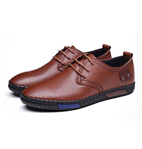En D'affaires Chaussures Ressort Hommes Chaussures Pour Brown Décontractée GRRONG Hommes Cuir qwRA0IR7