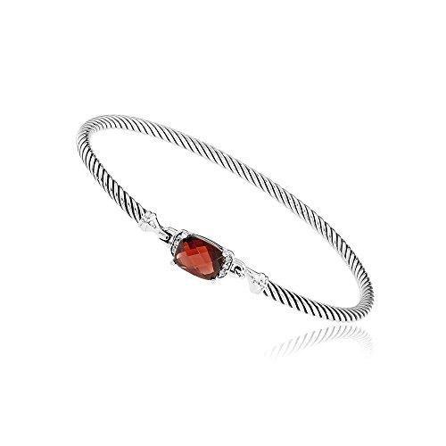 (David Yurman Petite Wheaton Garnet & Diamonds Bracelet B11194DSSAGADI)