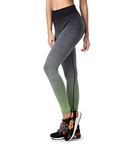 Qutool - Mallas elásticas de mujer para deporte, yoga, correr verde