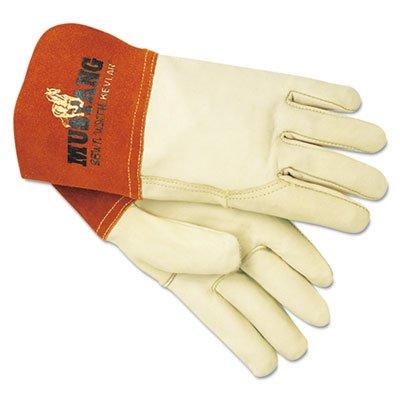 MCR Safety 4950M Mustang Premium Grain Cow MIG/TIG Welder Men's Gloves with Gauntlet Split Leather Cuff, Cream, Medium, (Pack of 12)