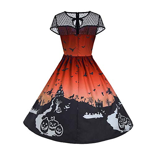 Womens Tops Clearance WEUIE Halloween Women's Mesh Patchwork Printed Vintage Gown Sleeveless Party Dress (XL, Orange)