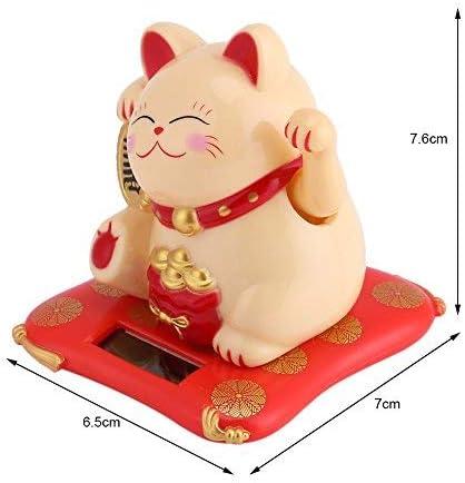 Jadeshay Maneki Neko Solar Powered Winke Cat Gatto Fortunato Sweet Solar Lucky per la Decorazione di Accessori per la casa scrivania Color : Yellow