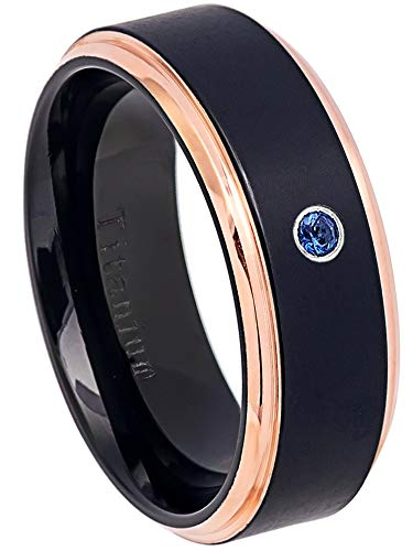 0.07ct Blue Sapphire Solitaire Titanium Ring - September Birthstone Ring - 8MM Black Ion Plated & Rose Gold Plated Stepped Edge Comfort Fit Wedding Band - 7.5