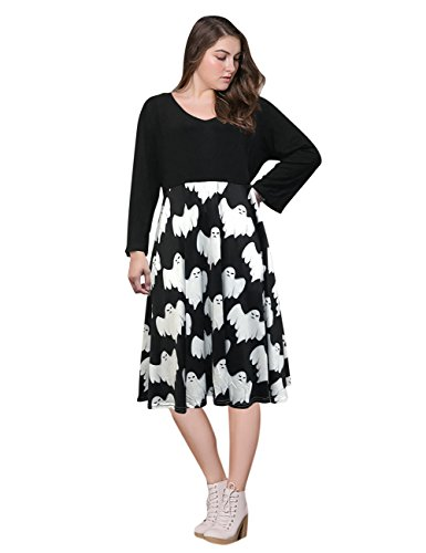 Japanese Weekend Maternity Clothes - AMZ PLUS Women Plus Size 3/4 Sleeve Swing Party Casual Dresses Black 2XL