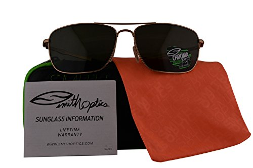 Smith Authentic Sunglasses Nomad Matte Gold w/ChromaPop Polarized Grey Green Lens RV3 (59mm) Nomad/S by Smith Optics