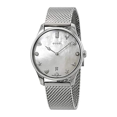 Gucci G-Timeless Diamond White Mother of Pearl Dial Ladies Watch YA1264094