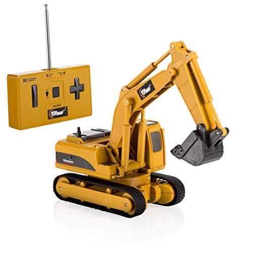 Top Race 4 Channel Mini Remote Control Excavator 1:64 Scale, Mini Construction Toys Series (TR-011) (Zip Zaps Micro Rc)