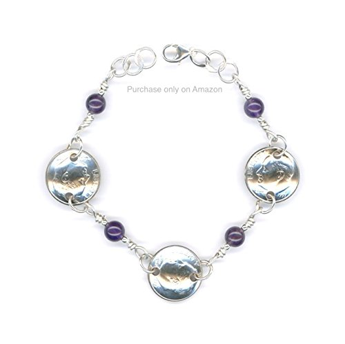 BIRTHDAY GIFT FOR HER 20TH Amazon Com 1998 Dime Bracelet With Amethyst Beads 20th Anniversary