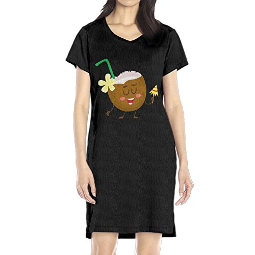 Hoeless Cute, Funny Coconut Women's Short Sleeve Casual T-Shirt Dress LBlack - Brandy Melville Halloween Costume