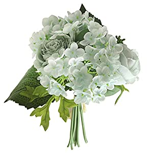 AKwell Artificial Silk Fake Flowers Peony Floral Wedding Bouquet Bridal Hydrangea Decor Valentine's Day Home Decor 1pcs 7