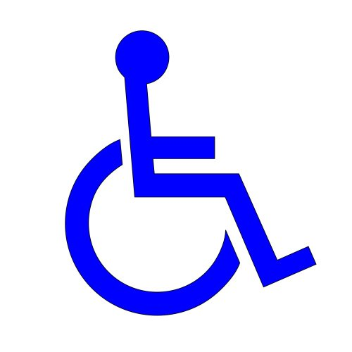 Handicap Decal - Standard Icon For Wheelchair Lift Disability Mobility Van Or Bus - In Blue 8.5x7.5