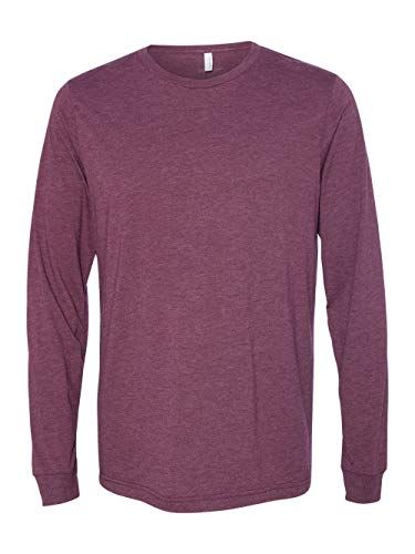 - Bella + Canvas Unisex Jersey Long-Sleeve T-Shirt - Maroon Triblend - 2XL - (Style # 3501 - Original Label)