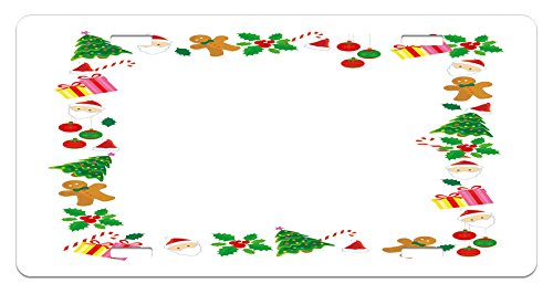 (Ambesonne Kids Christmas License Plate, Colorful Border with Different Clip Arts Holiday Festivity Santa Trees Balls, High Gloss Aluminum Novelty Plate, 5.88 L X 11.88 W Inches, Multicolor)