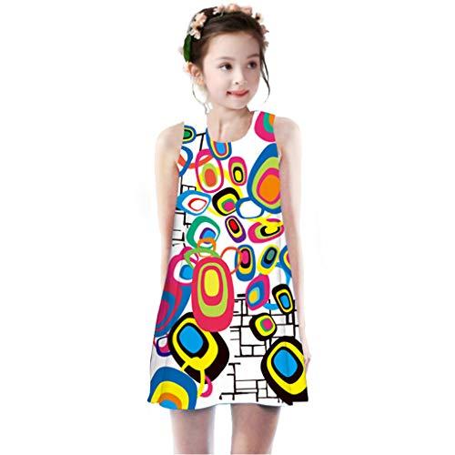 SIN vimklo Girls Dress Digital Print Sleeveless Tank Casual Skirt