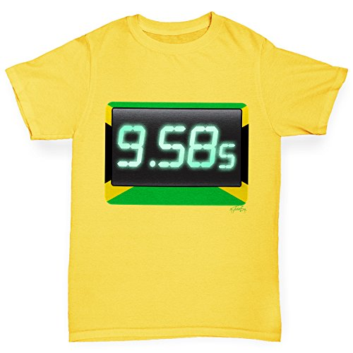 TWISTED ENVY 100 Metres Sprint World Record Boy's Yellow T-Shirt Age 9-11 (Usain Bolt Fastest Man In The World)