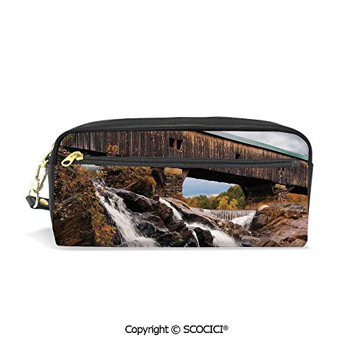 (Printed Pencil Case Large Capacity Pen Bag Makeup Bag Old Rustic Oak Covered Bridge Over Cascading Waterfalls Rock Fall Season American City for School Office Work College)
