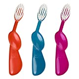 RADIUS Kidz Right Hand Toothbrush for 6 years +, Very Soft Bristles, Assorted Colors (Pack of 3)