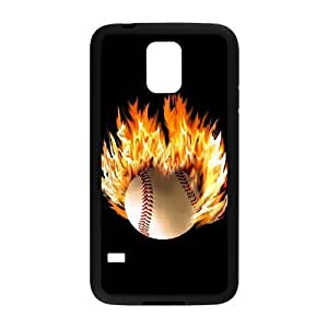 DIY Protective Snap-on Hard Back Case Cover for SamSung Galaxy S5 I9600 with fire baseball