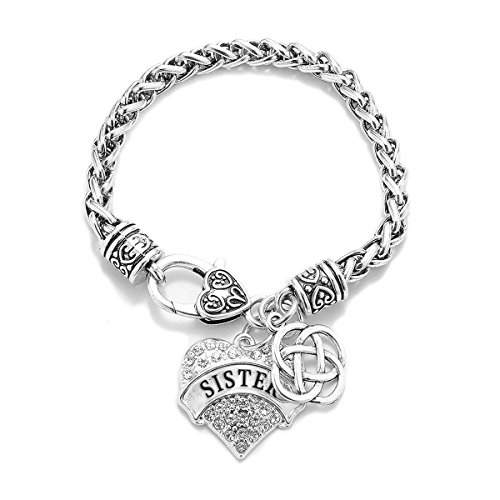 Inspired Silver Sister Celtic Knot Pave Heart Clear Cystal Charm Bracelet