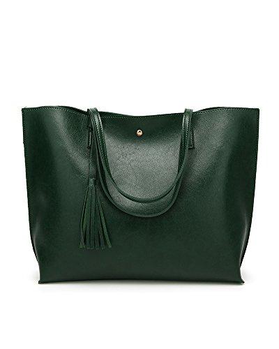 Whoinshop - Borsa da donna con manici a spalla, oggetto di design, decorata con fiocco Green-1