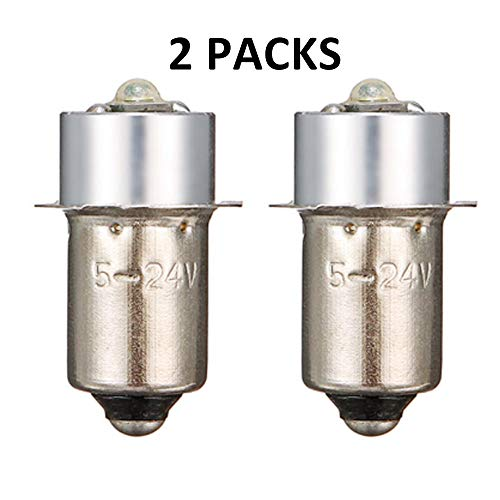 24v Flashlight - High Power LED Upgrade Bulb 3W 247LM DC5-24V 12V 18Volt PR2 P13.5S LED Flashlight Bulbs Replacement for DEWALT Flashlight Torch Tooling Lantern Work Light Maglite LED Conversion Kit (2Pack)