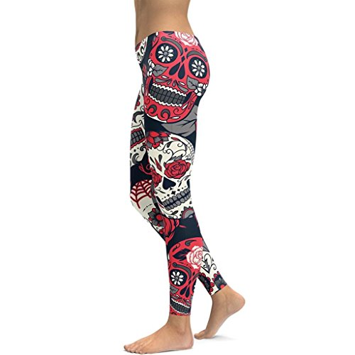 Creazrise Women's Pants,Women High Waist Skull Printed Gym Yoga Running Fitness Trousers Floral Leggings Pants