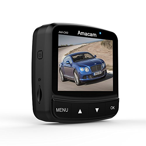 On Dash Cam Amacam AM-C60 Compact Car Camera. Night Vision Super Full HD1080P. 160 Degree Wide Angle Lens. GPS Route & Maps. Supports up to 64GB Memory Cards. Online Technical - Car C60
