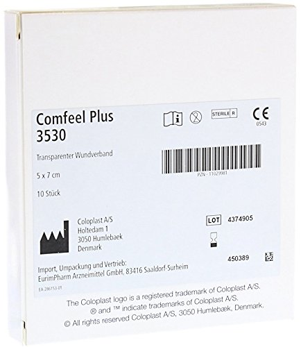 """Coloplast Comfeel Plus Clear Thin Hydrocolloid Dressing, Sterile, Nerve Endings 2"""" x 2-3/4"""", Box of 10"""