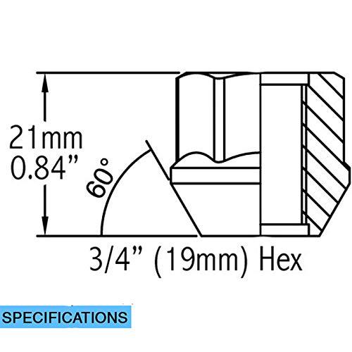 3//4 Wheel Accessories Parts Set of 32 9//16 UNF Zinc 0.84 19mm Hex Open-end Acorn Bulge Lug Nuts Set