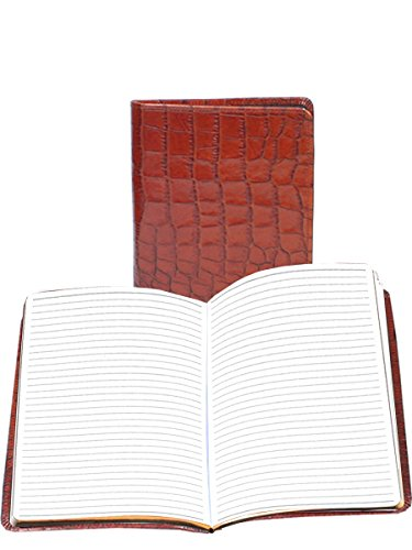 Scully Accessories Dark BRN Croco Leather Ruled Desk Journal